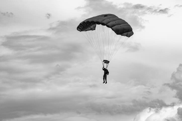 jumping-parachutist